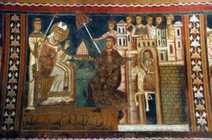 7 Costantino, curato dalla lebbra, siede in trono di fronte a Silvestro